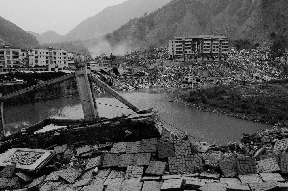 The ruins of Beichuan the hardest hit city. Beichuan will not be rebuilt and will be turned into a memorial to the earthquake that killed, according to official counts, 70 000 people on May 12th, 2008.  Built in in a narrow valley on a fault line, the city should have never been allowed to develop, critics say.