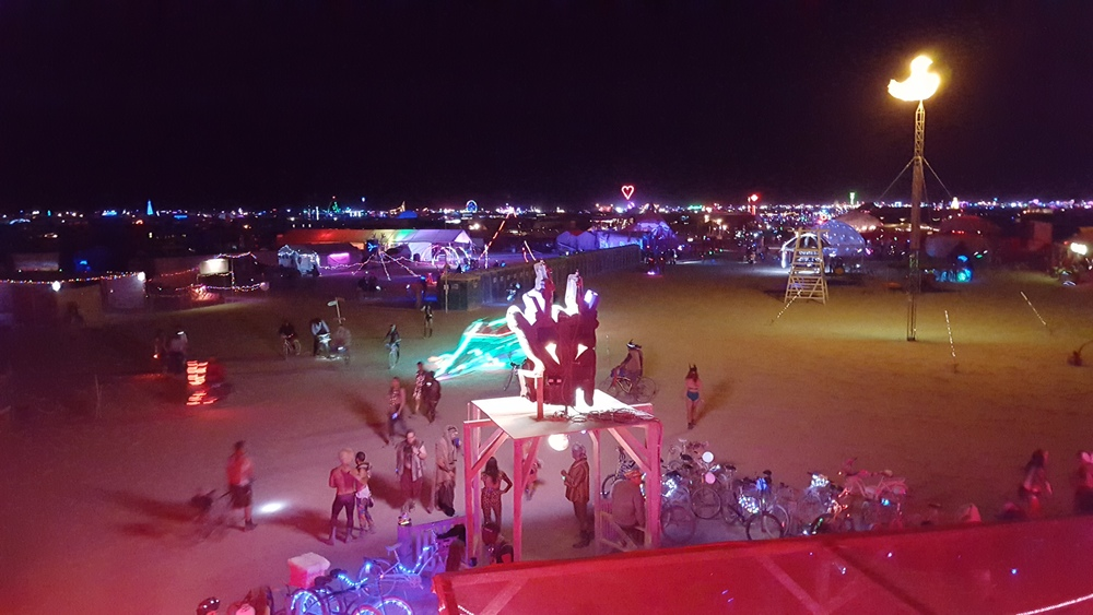 Its Wednesday Night out on The Playa. Here you can see Camp Bang Bang Hosts, all in the 9:00 & F Pocket welcoming and greeting guests to come and enjoy our WILD ANIMAL PARTY. MEEEOOOOW!
