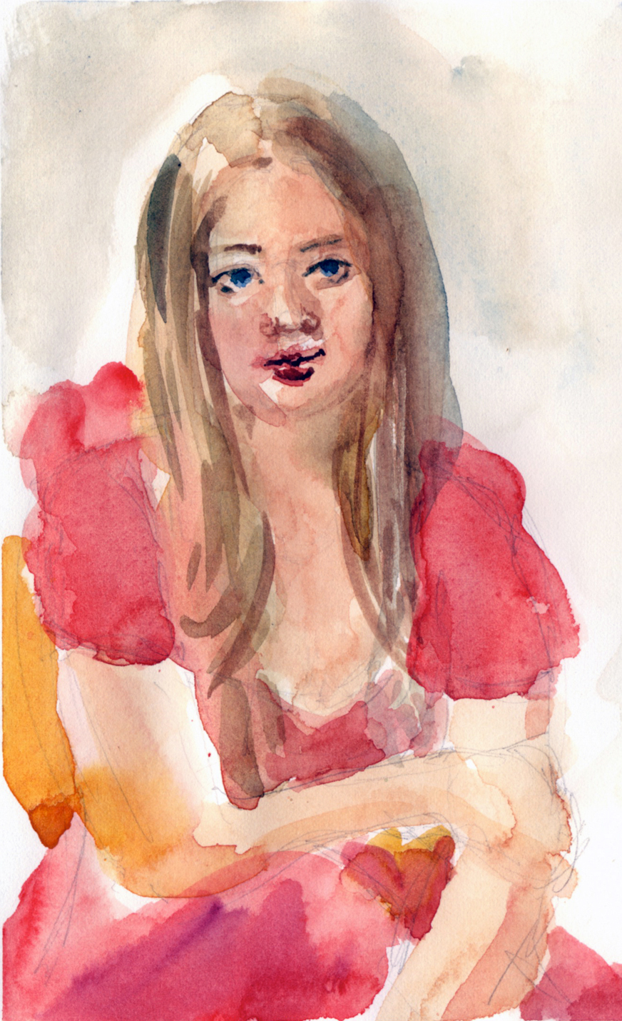 """Chloe"" watercolour on paper"