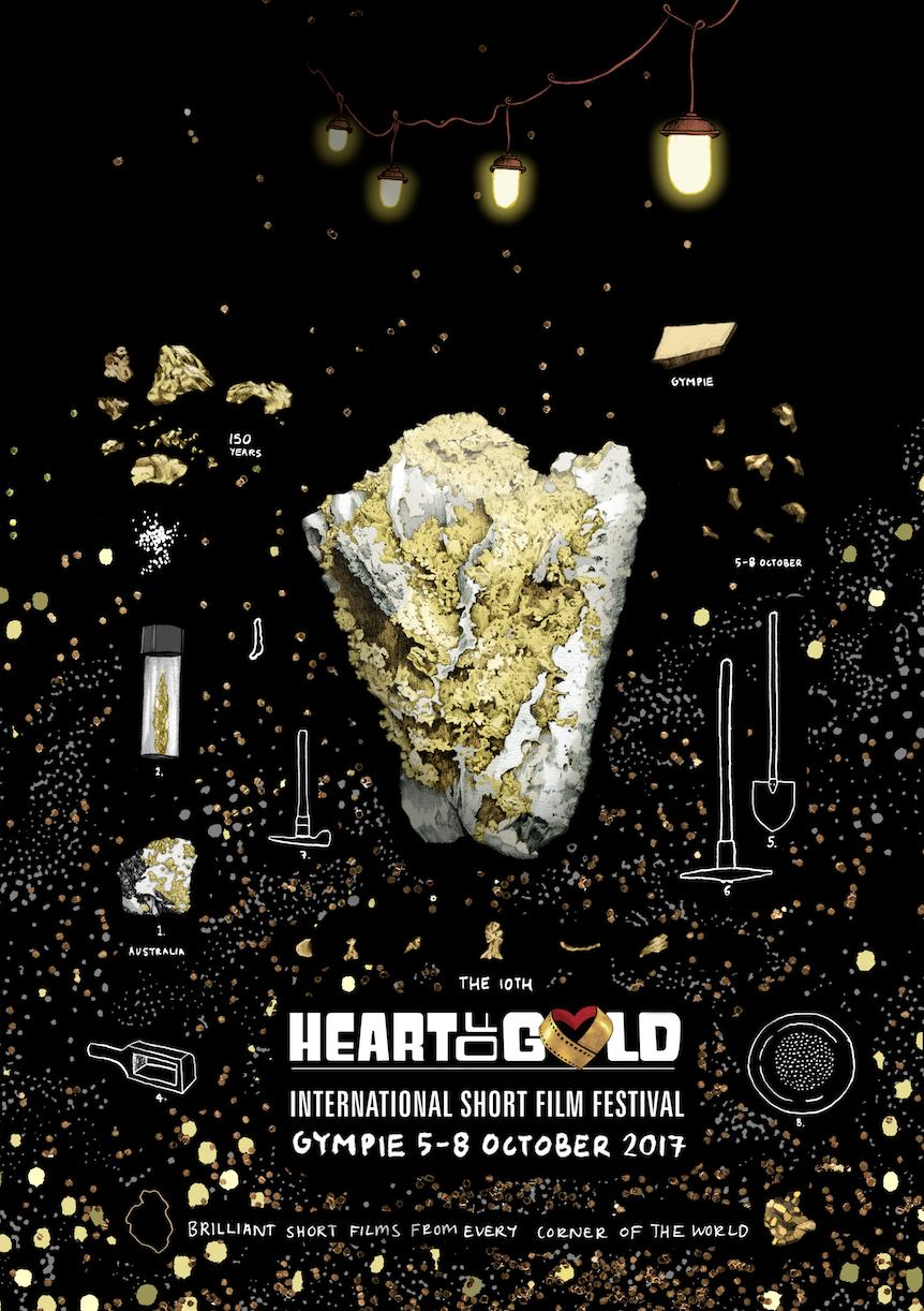 Illustration and Poster Design for the Heart of Gold International Film Festival 2017.  (Poster design by Edith Rewa, Logo by Heart of Gold International Film Festival)