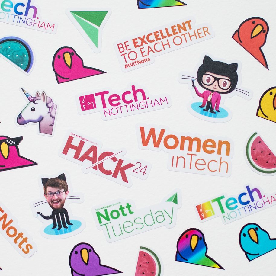 Some of the awesome stickers made by STKRS for Tech Nottingham!