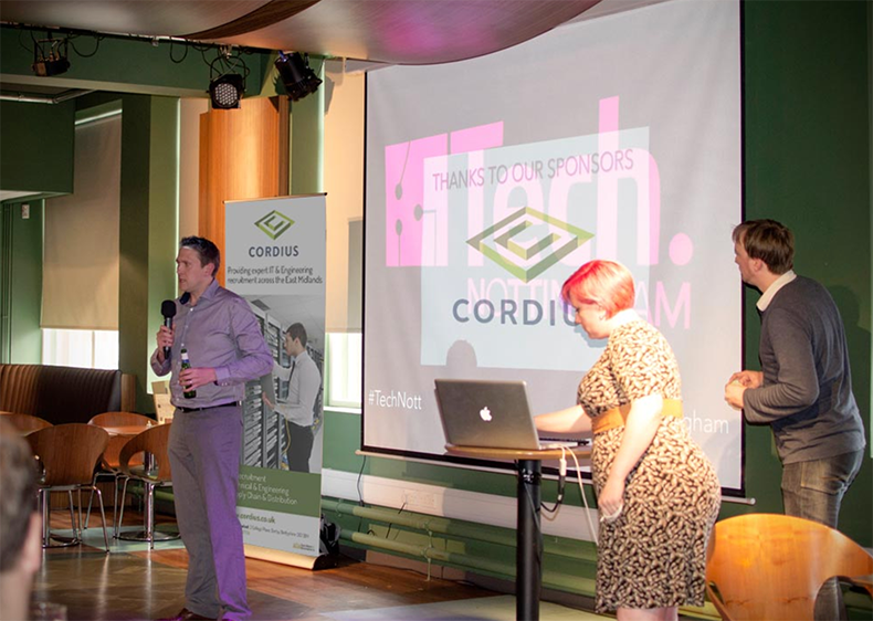 Cordius'  Justian Blount  speaking at Tech Nottingham