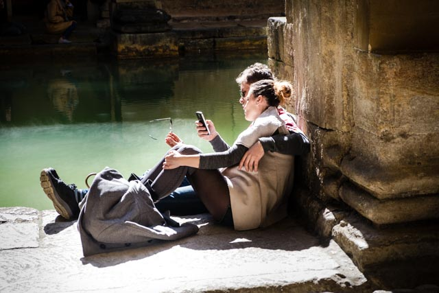 A quiet moment snatched in a very busy Roman Baths tour.
