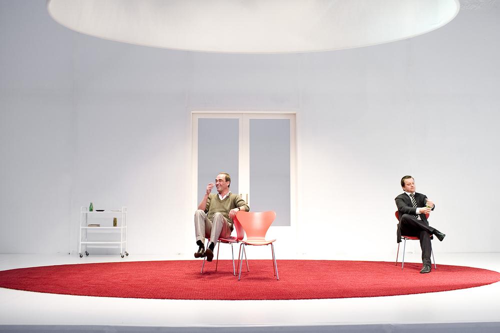 Michiel Nooter, Mathias Sercu, Wouter van Lierde tijdens Kunst van Theatergroep Suburbia
