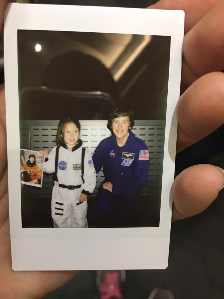 "Here she is meeting ""a real girl astronaut!""  Poor thing was so excited she could hardly speak..."