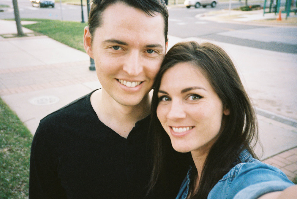 Selfies on film are always a trick.  Here we are on a rare date night.