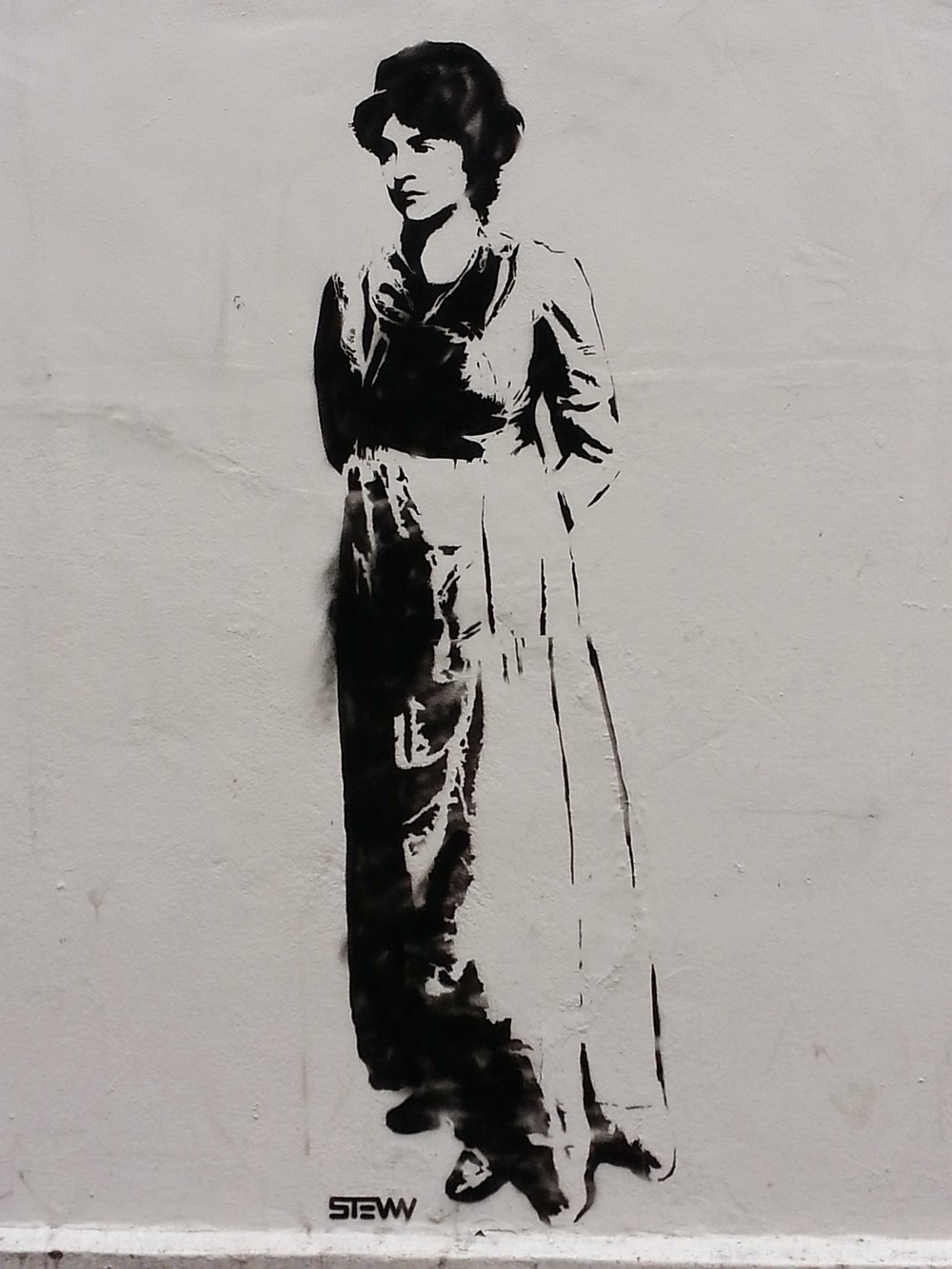 Mary Wollstonecraft street art stencil by STEWY. Located on the outside wall of New Unity @ Newington Green.