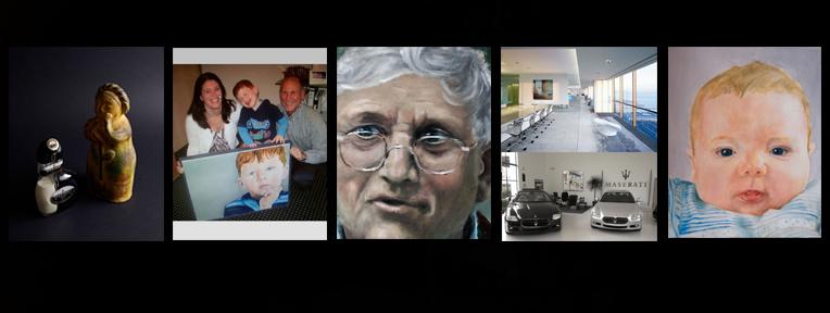 Enkele voorbeelden:  Productfotografie, schilderijen voor bedrijf, portret oud en jong.