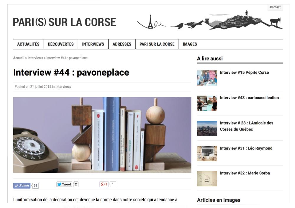 Interview magazine Pari(s) sur la Corse - www.paris-sur-la-corse.com