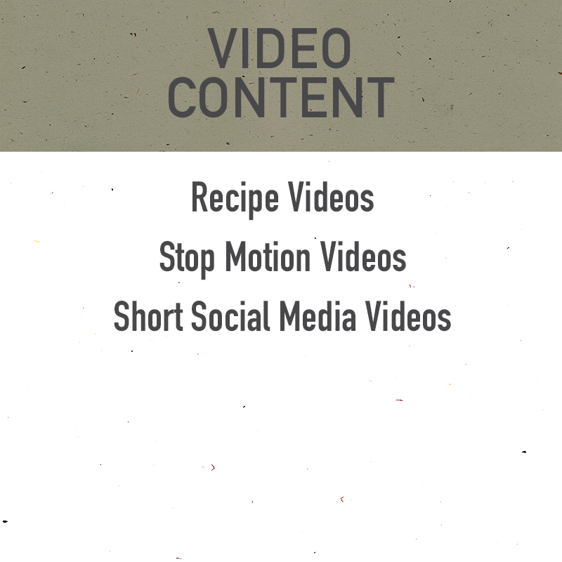 video content, videography, social media video creation, stop motion video, short stop motion video creation, short social media videos, boomerang videos, recipe videos, social media recipe videos, tasty style recipe video creator, fast paced recipe video