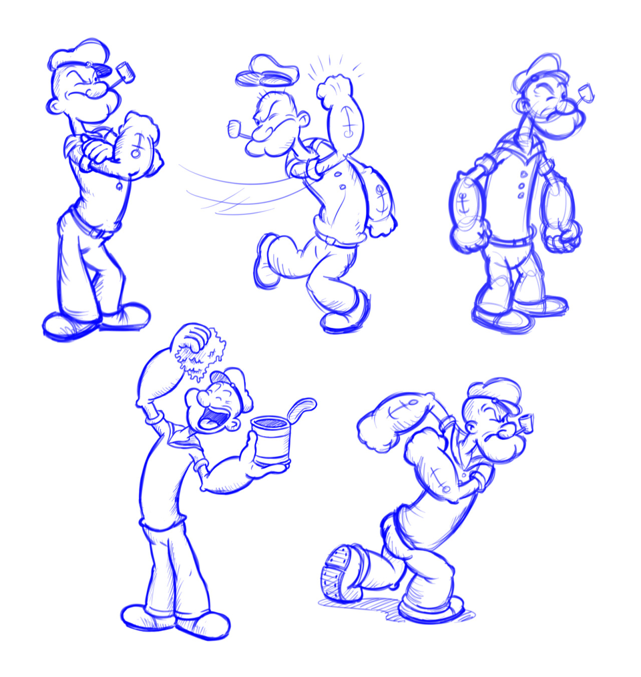 I picked up a tip from the great Jake Parker recently.  If you're in a bit of a drawing funk, copy great drawings.  It helps to just get yourself into a flow and you build up a mental image bank that you can tap into later.  So I drew some popeye sketches today.  Such a fun character to draw.  I love the way his body twists around.