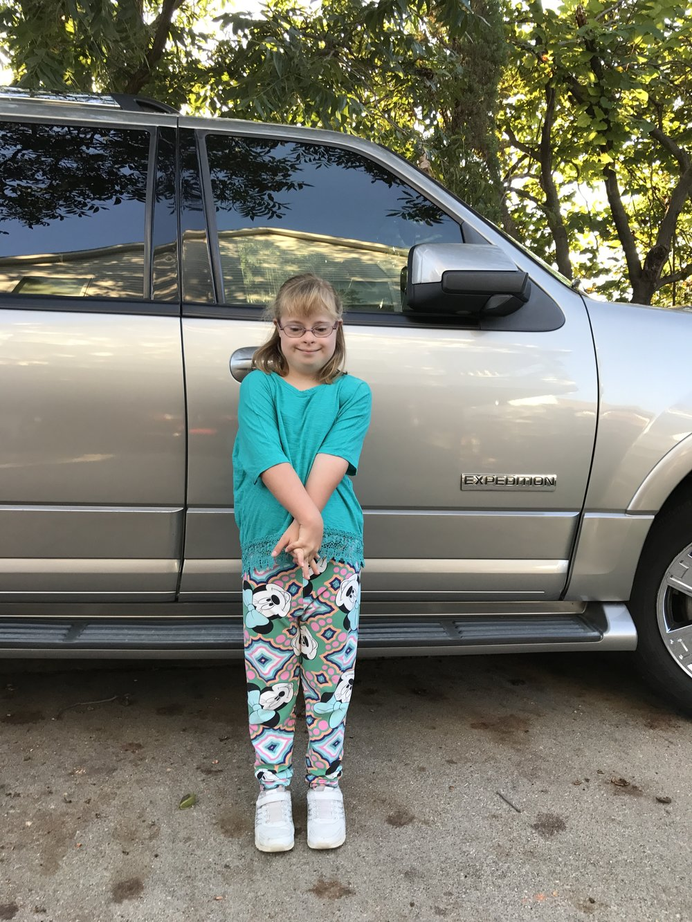 My daughter, Kelsey, in the last LuLaRoe tights we'll ever buy.