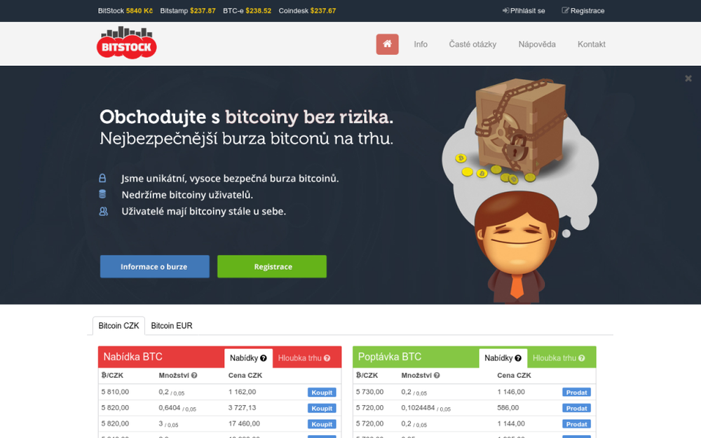 BitStock umožňuje prostřednictvím burzy obchodovat s digitálními měnami. Na burze můžete aktuálně nakoupit i prodávat bitcoiny (BTC). Naším cílem je provozovat bezpečné a stabilní prostředí pro obchodování s digitálními měnami. - Na lysinách 457/20, 147 00 Praha, Česká republika