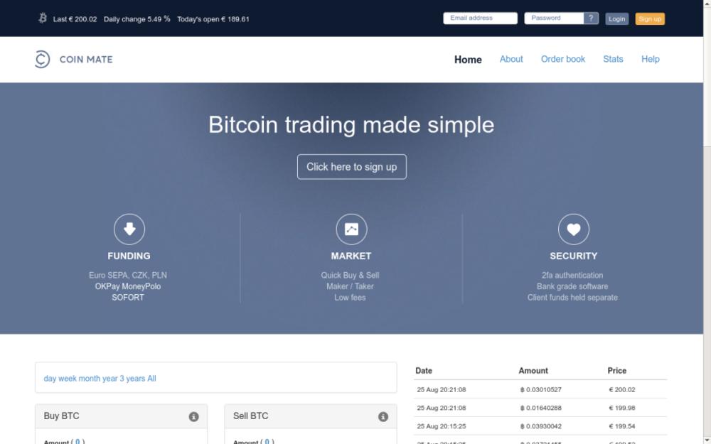 Coinmate vzniká v říjnu v roce 2014 s cílem obnovit důvěru v obchodování s virtuální měnou Bitcoin. Technologická část portálu je od prvopočátku outsourcována ve spolupráci s předním poskytovatelem ICT služeb. V srpnu 2015 přidáváme instantní převody z 13-ti českých bank a Maker-Taker obchodní model. - Dept 613, 196 High Road, N22 8HH London, Velká Británie