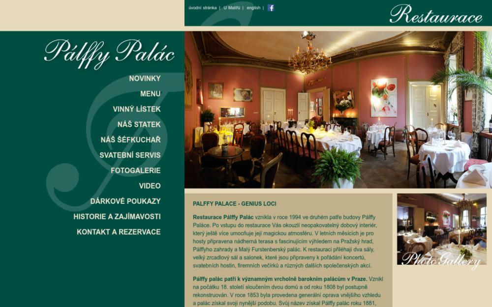 Restaurace Pálffy Palác vznikla v roce 1994 ve druhém patře budovy Pálffy Paláce. Po vstupu do restaurace Vás okouzlí neopakovatelný dobový interiér, který ještě více umocňuje její magickou atmosféru. - Valdštejnská 14, 118 00 Praha, Česká republika