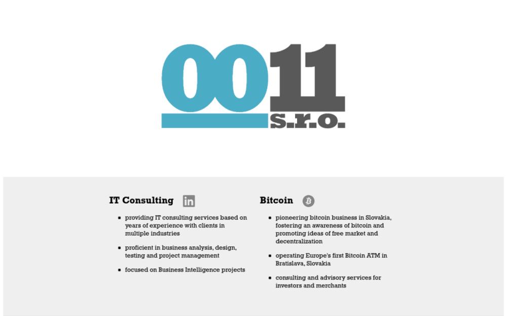 Patříme mezi průkopníky v Bitcoin podnikání na Slovensku, posilujeme povědomí o Bitcoinu a prosazování myšlenky volného trhu a decentralizace. Jako první v Evropě jsme uvedli do provozu Bitcoinmat (Bratislava). Poskytujeme IT konzultační služby. - Jelenia 1, 811 05 Bratislava, Slovenskárepublika