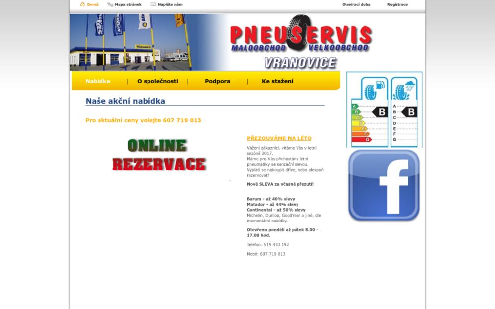 Nabízíme služby pneuservisu a prodej pneumatik. Jsme prodejní a servisní síť pneumatik značky Barum Continental. Prodáváme obutí pro osobní i nákladní automobily. Provádíme huštění plynem, kontrolu a výměnu brzdových destiček, tlumičů, výfuků, baterií či olejů nebo filtrů. - Lipová 676, 691 25 Vranovice, Česká republika