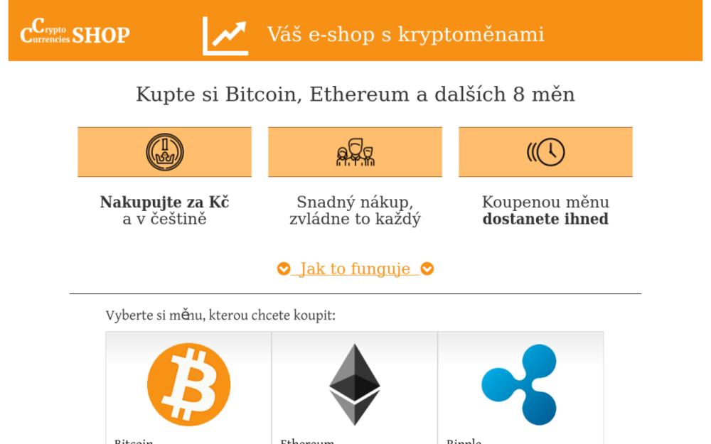 Prodáváme bitcoin i další kryptoměny v podobě jednoduchého e-shopu. - Starý Petřín 24, 671 06 Starý Petřín, Česká republika