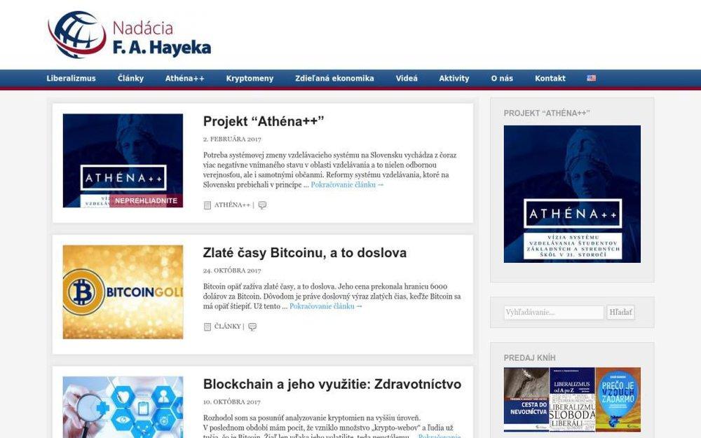 Nadácia F. A. Hayeka je nezávislá a apolitická nezisková organizácia, založená v roku 1991 v Bratislave skupinou slovenských ekonómov. - Jašíkova 6, 821 03 Bratislava, Slovensko
