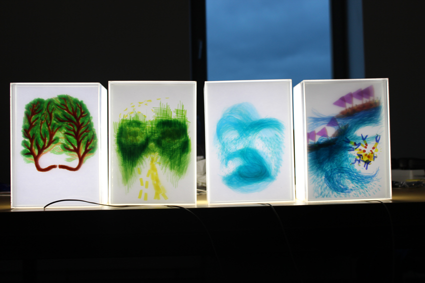 Onirical Reflections Light Boxes  5 Light Boxes 22x16x7 cm