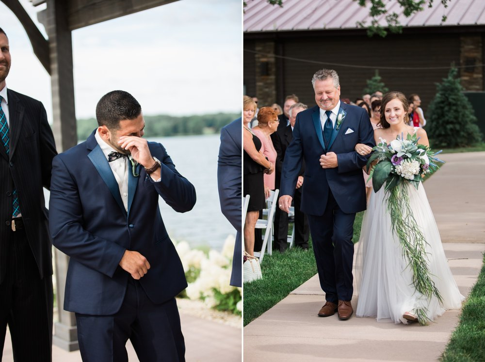 Nick's reaction to seeing Martina walking down the isle takes the win for best groom reaction. She was a beautiful bride, I can't blame him!
