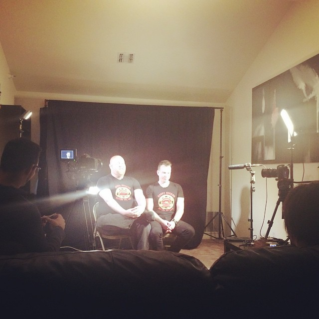 Finally time for us to tell our #rhsml story. (amidst post production fun times!) Shawn and @larryv4711 in their infamous position with @brianofstewart and @pauliedelarge interviewing. #rockyhorrordoc #documentary #filmmakers #rhps #rockyhorror #rhps40
