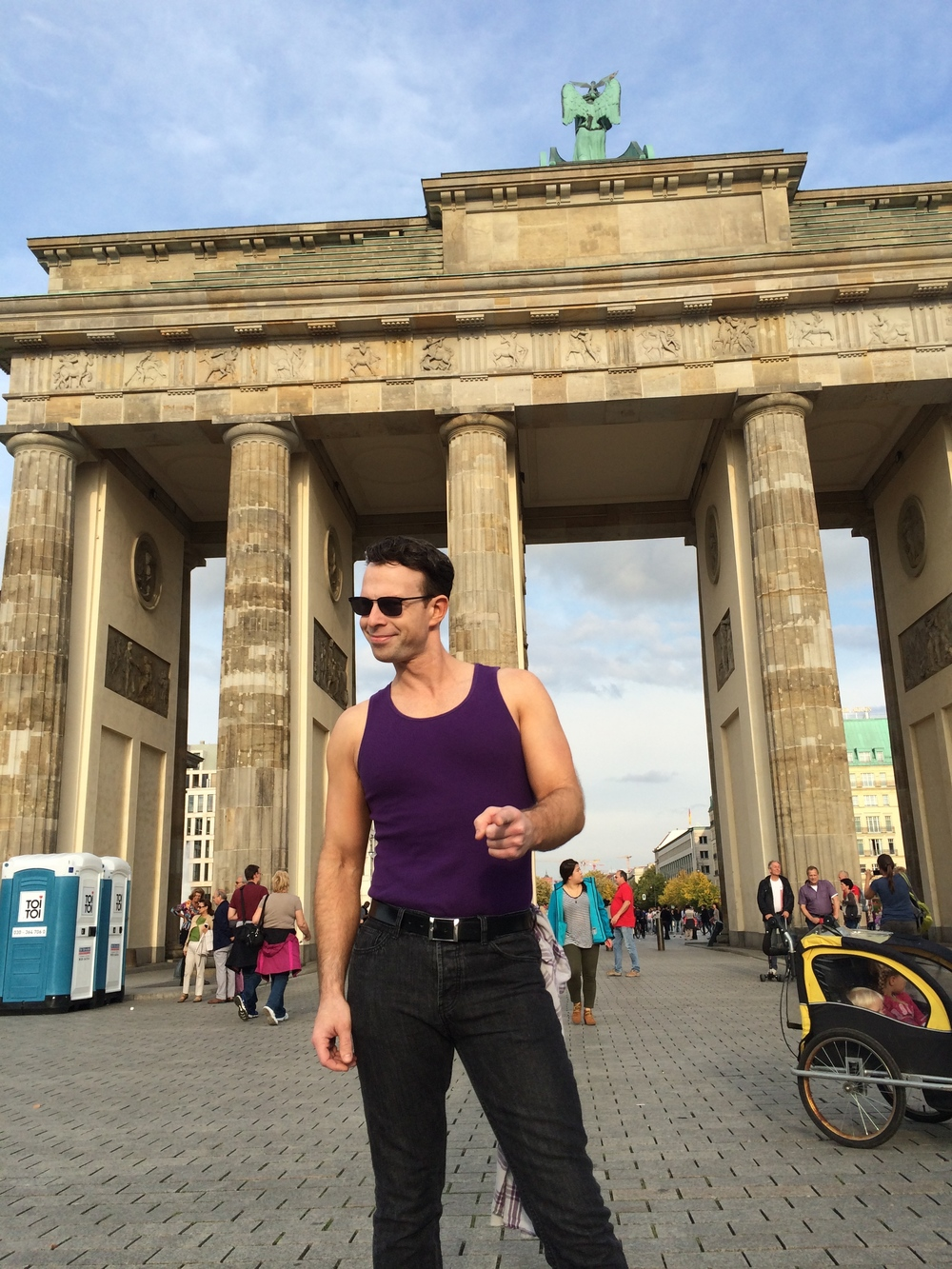 Shawn striking a pose in Berlin