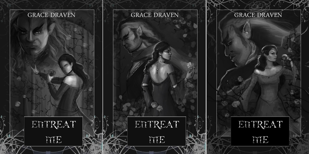 Step-by-step guide from illustrator Louisa Gallie on creating the cover artwork for Entreat Me (author Grace Draven) - Step 2.