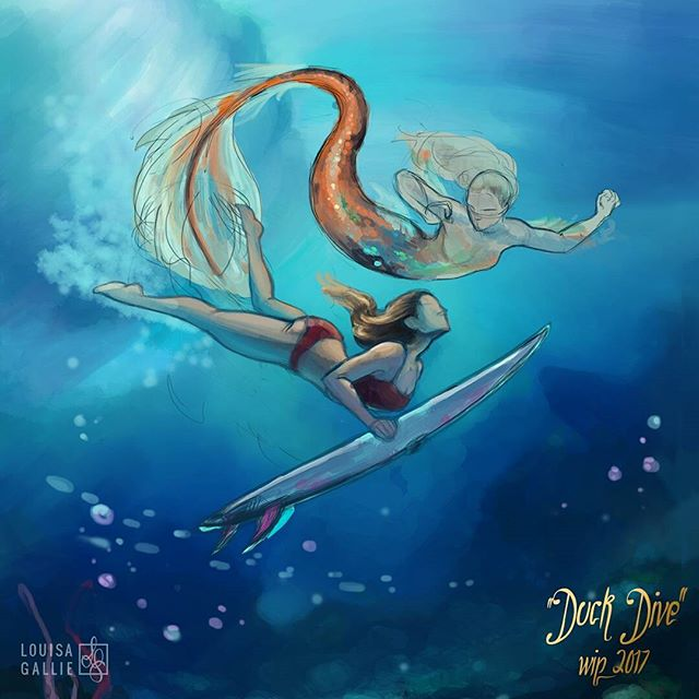 I have one more book cover commission to finish up and then I'm taking a freelance break to focus on my own work. This one is on the top list of paintings I'm finishing first!  #illustration #painting #art #workinprogress #process #mermaid #surfing #surfer #surfergirl #surfgirl #ocean #diving #underwater #photoshop #madewithwacom #artistsoninstagram #instaart