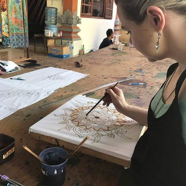 Learning something new today - batik painting in Ubud!  This is my practice piece. The real deal is currently on the drying rack.  #art #painting #batik #ubud #bali #artistlife #instaart #artistsoninatagram