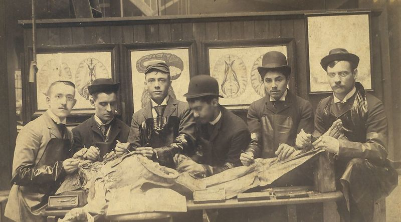 University of Pennsylvania Medical School students with a cadaver (1890) (via University of Pennsylvania Libraries)