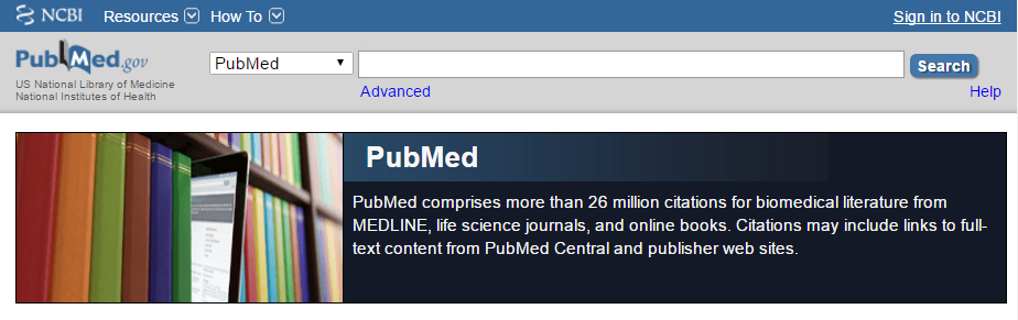 A screenshot of PubMed.gov on December 20, 2016.