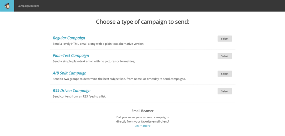 MailChimp 101 - Choose Type of Campaign  |  Think Creative