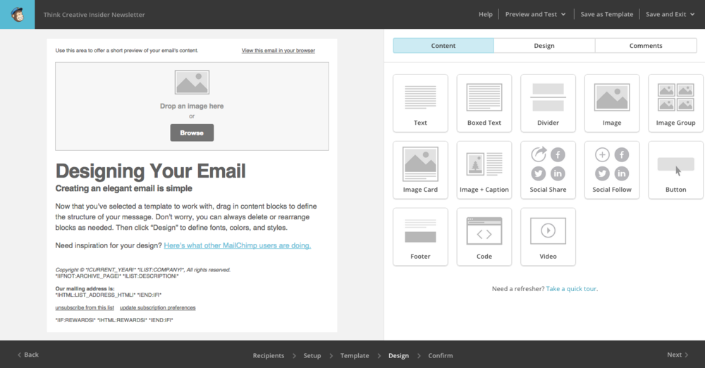 MailChimp 101 - Design Your Email  |  Think Creative