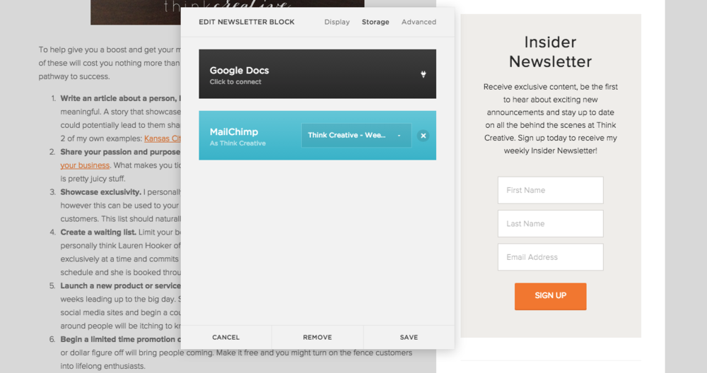 how to use mailchimp with squarespace