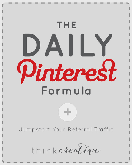 In April I shared my secrets on how I increased my Pin impressions by 53,285.71% in just two weeks! Then in May I showed you how to (Re)Fall in Love with Your Pinterest. And now it is June, so what have all these changes done for me?  |  The Daily Pinterest Formula to Jumpstart Your Referral Traffic  |  Think Creative