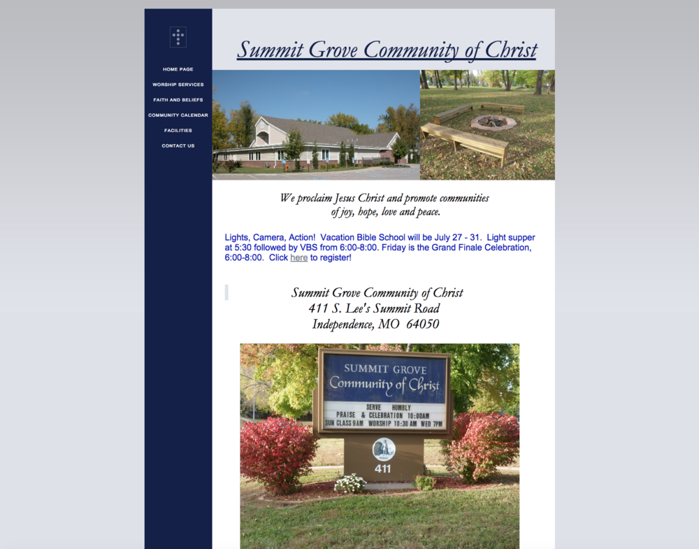 Summit Grove Community of Christ Before Think Creative Rebrand