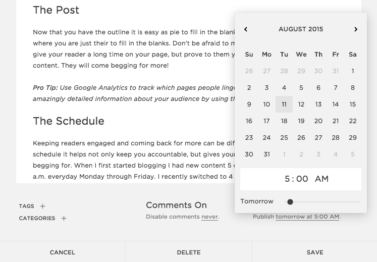 Schedule Your Blog Posts with Squarespace  |  Think Creative