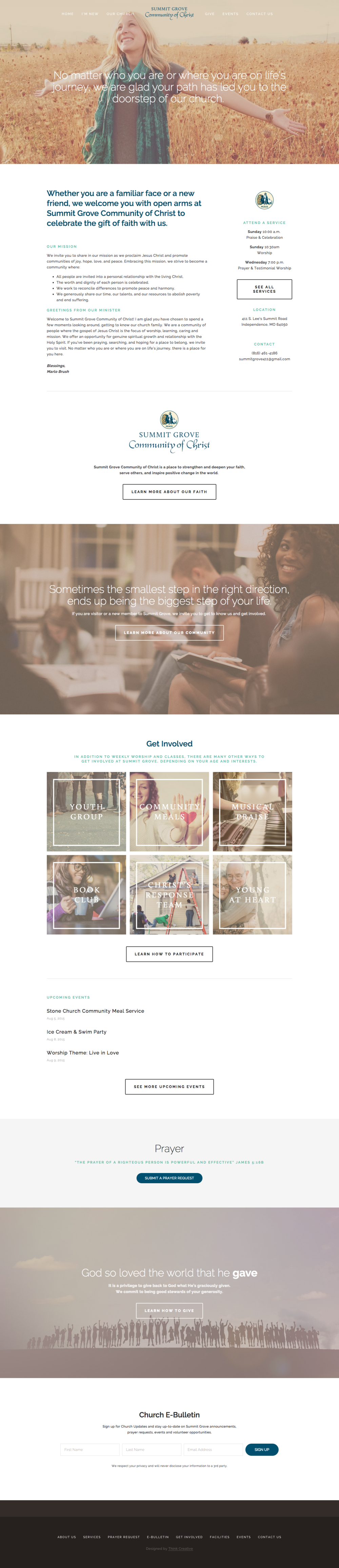 Summit Grove Community of Christ  |  Website Design  |  Think Creative Collective