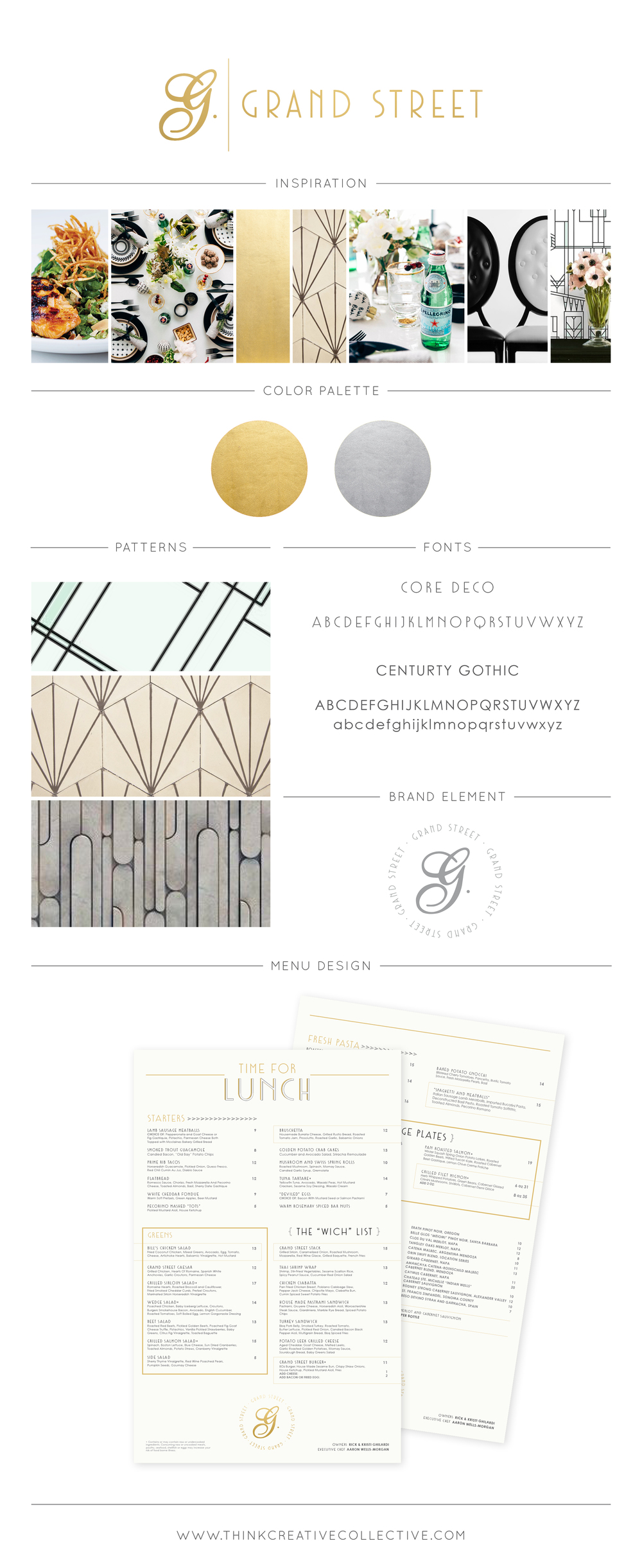 Grand Street  |  Restaurant & Fine Dinning Re-Brand  |  Menu Design  |  Think Creative Collective