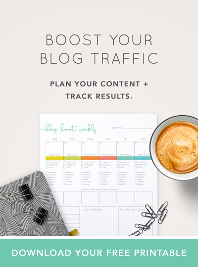 Boost your blog traffic by planning your content and tracking results with this free printable.  |  Think Creative Collecitve
