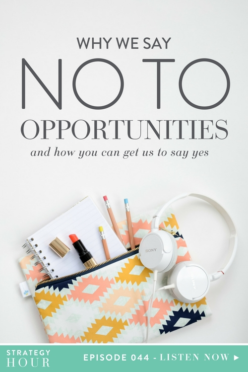 "Today, we are super excited to talk about some stuff that might surprise you guys. We are telling you all the reasons why we say no to ""opportunities"". Most opportunities, honestly. Plus, we get into the thought process behind our no's and how you can begin to ask yourself different questions when you get thrown various opportunities in your own business. We're chatting about how to figure out whether an opportunity is the right fit for you or not, if it's going to pay off, and whether or not it is going to be beneficial for both parties and all of that fun stuff.  