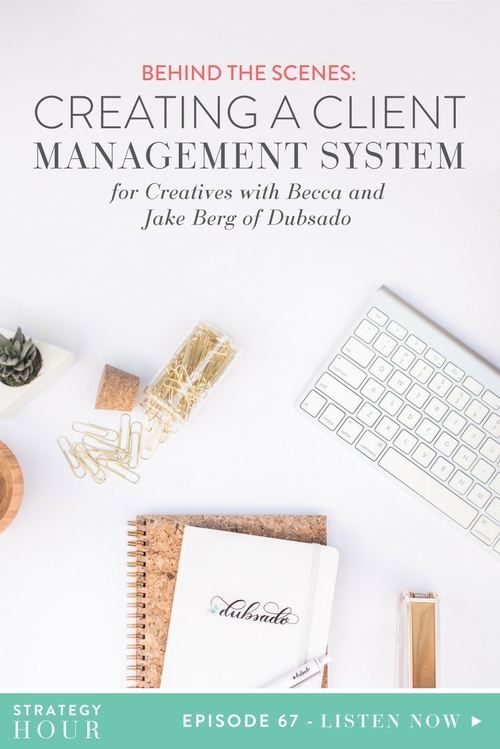 Today on the show, we have Becca and Jake Berg of Dubsado. We are super excited to have them on! They are a husband and wife team that are the brains, power, and genius behind Dubsado, which is a client management system for creatives. They have built one amazing and beautiful platform for all of those things that you have 75 different logins for, including your contracts, how you get paid, and how you respond back to clients after they book with you. All of those pieces are neatly tied up in one amazing software bow.  |  The Strategy Hour  |  Think Creative Collective