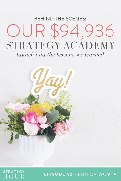 On today's show we literally take you behind the scenes of the biggest launch of our careers! After two years of hard work and thinking about what we could offer the world that's really going to change the landscape for creative entrepreneurs, we launched The Strategy Academy. We don't think you guys realize the amount of excitement that we have to bring you this episode. Not only are we excited because it means the launch is over and we can finally breathe, but we are also excited because it's the biggest launch of our careers, ever! It also meant a lot of lessons learned, a lot of successful decisions, a few minor tweaks and pivots, and some crazy data and stats that absolutely blew our minds!  |  The Strategy Hour  |  Think Creative Collective
