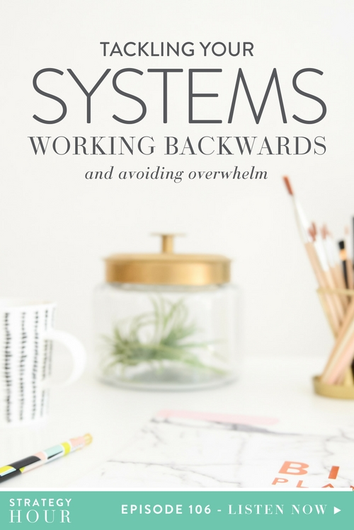 Today we are talking all things systems. Our main concept is all about working backwards to achieve a goal. This may not be a new concept, but it is one of the topics we get the most questions about. So we are going to answer a bunch of the questions we have received about achieving your goals and tackling them head on! Often, identifying an end goal can be confusing, overwhelming and lead to a lot of self-doubt. Especially if your business is new. We are here to tell you why you need to have an end goal in mind, no matter where you are in your business.  |  The Strategy Hour  |  Think Creative Collective