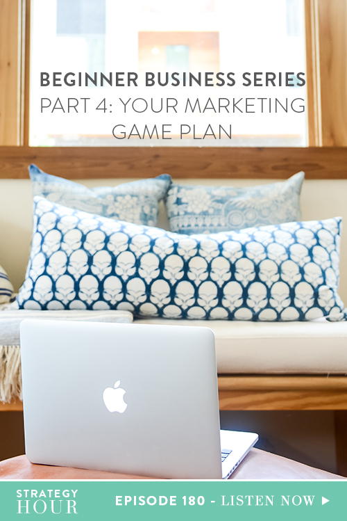 Today we are creating your marketing game plan and we couldn't be more jazzed. Up to this point in the Beginner Business Series, you have figured out what you are best at and what you can get to market the quickest without learning anything new. We've also figured out how to package and price it. We've set up your shop, listed it and you are ready to sell! You've come a long way and in today's episode, we're going to dive into your marketing game plan so you can get your stuff out into the world and start making money right away.  |  The Strategy Hour  |  Think Creative Collective