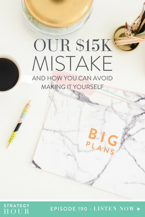 Today on the show, we'll be telling you a story about a $15k mistake we just made. We are finally at a place where we are no longer blaming others for this mistake, and we are able to reflect on it and share it with you. So, we are going to talk to you about a concept we had hoped to implement in our business, the mistake we made, the giant role we played in allowing the bad crap to continue happening – and most importantly, how you guys can avoid making the same mistake in your own business!  |  The Strategy Hour  |  Think Creative Collective