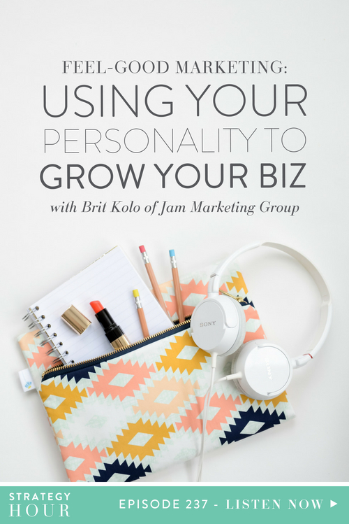 Today on the show we welcome Brit Kolo of Jam Marketing Group. Brit is a feel good marketing coach, accountability partner, abundance junkie and hugger of all things plants. Brit coaches boxed-in business owners to become independent, profitable leaders through self-awareness and #MarketingThatFeelsGood. In this episode, we're diving into all things personality type and this corresponds to marketing plans. Brit believes that you shouldn't have to feel fake and sales-y in order to grow your business.  |  The Strategy Hour  |  Think Creative Collective