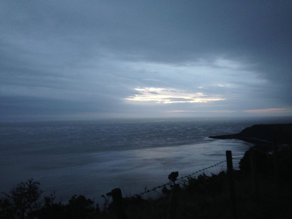 The sea at dusk.  Photo taken from the cliffs on my most recent trip.