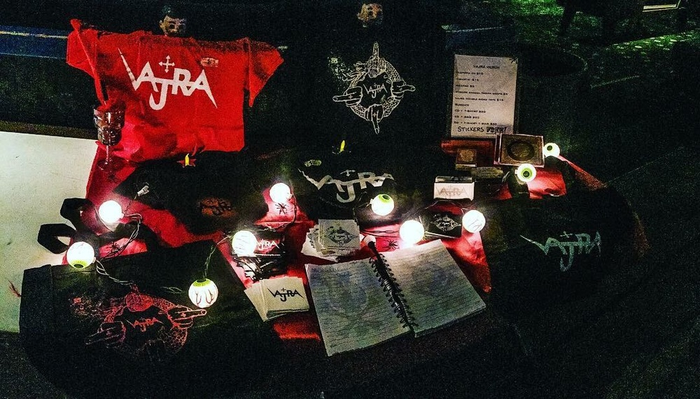 The uber-creative Vajra merch table diligently put together by Annamaria before every show Photo credit: Max Sequeira
